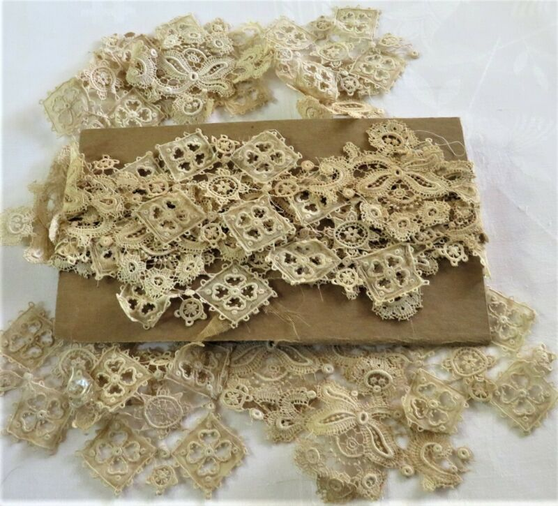 BEAUTIFUL ANTIQUE VICTORIAN LACE APPLIQUES 13 SETS EXCELLENT ESTATE CONDITION