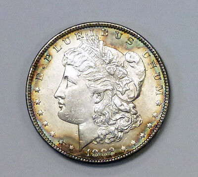 {BJSTAMPS} 1882 MORGAN Silver DOLLAR RAINBOW RIM Both SIDES! Rainbow Rim