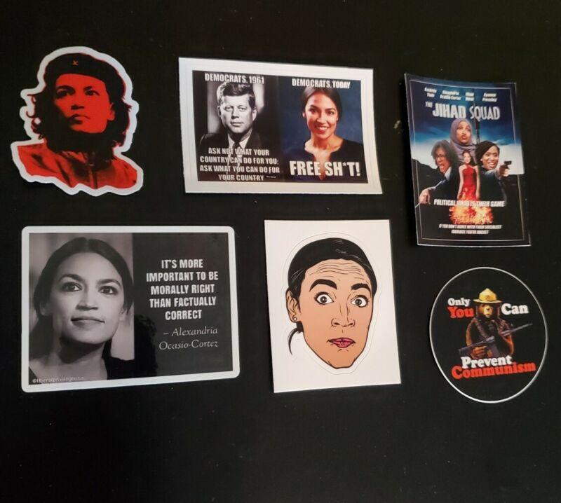 AOC A.O.C Funny Political Bumper Sticker Lot Of 6 Sexy JFK ANTI COMMUNISM
