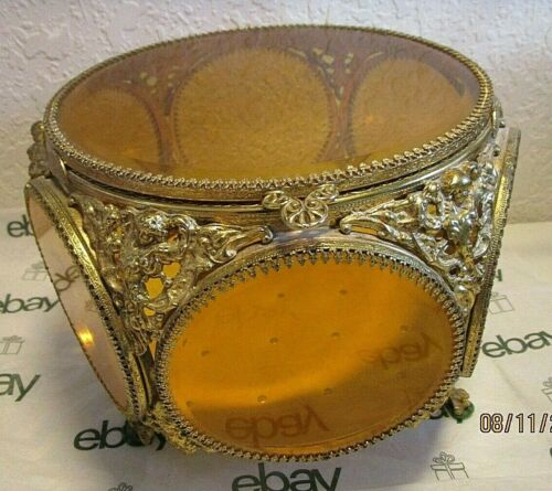 ANTIQUE LARGE STYLEBUILT MATSON AMBER BEVELED GLASS ORMOLU JEWELRY CASKET BOX