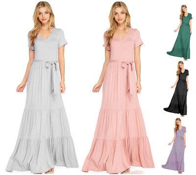 Women's Soft Knit Maxi Dress Short Sleeve V-Neck Belted Full Bottom Casual Boho  Belted Jersey-shorts