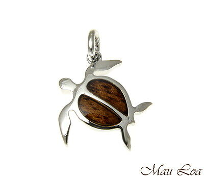 Koa Wood Hawaiian Honu Sea Turtle Rhodium Silver Plated Brass Pendant - Koa Sea Turtle