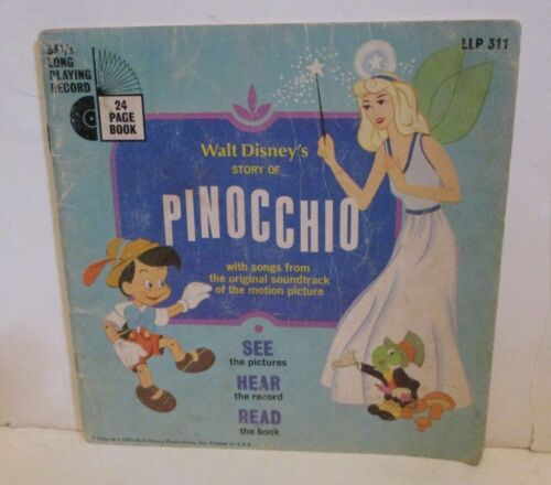 DISNEY VINTAGE THE STORY OF PINOCCHIO PAPERBACK BOOK ONLY NO RECORD INCLUDED