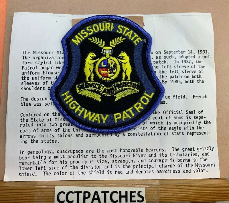 MISSOURI STATE HIGHWAY PATROL WITH DETAIL HISTORY SHOULDER PATCH MO