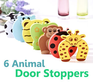 6x Baby safety Door Jammer Guard Finger Protector Stoppers- cute animal designs