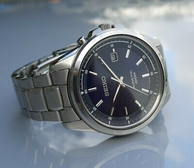* MENS SEIKO KINETIC 5M62- 0DG0 STAINLESS STEEL 10OM BLUE DIAL WRISTWATCH WATCH