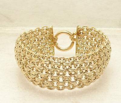 Bold Wide Domed High Polished Mosaic Oval Link Bracelet Real 14K Yellow Gold QVC ()