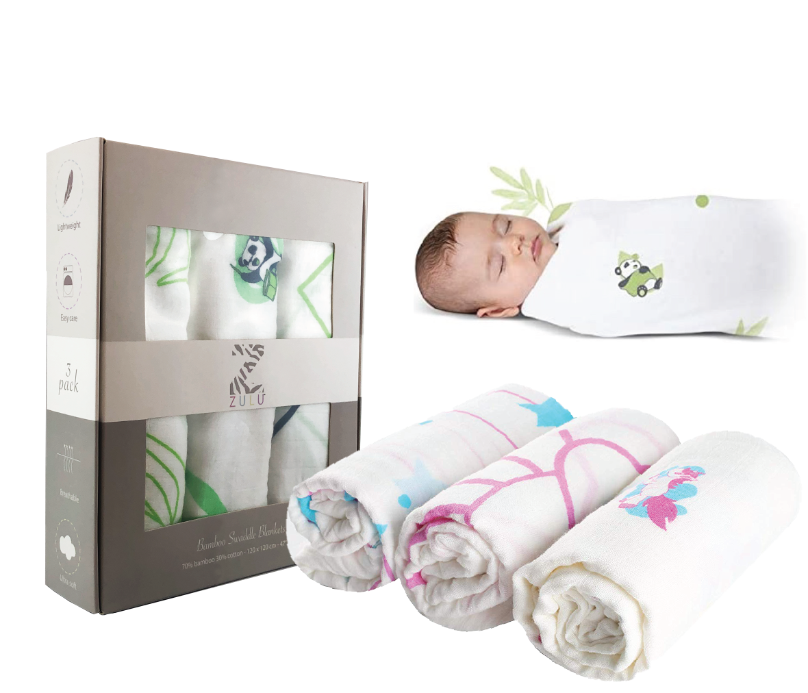 ZULU Muslin Swaddle Blanket, Bamboo / cotton, Baby Receiving