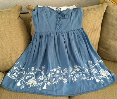 Disney Dresses For Adults (NWT DISNEY BEAUTY & THE BEAST BELLE INSPIRED DRESS ADULT MEDIUM BLUE WHITE)