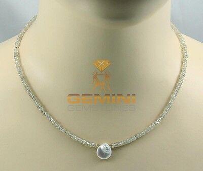 Facettierte Zirkon Kette sandfarbenn mit Perle Halskette für Damen 46 cm