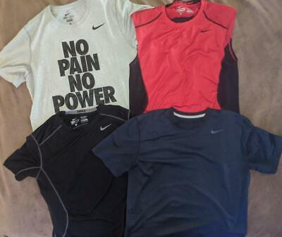 RARE Lot of 4 Mens NIKE Workout Athletic Gym MEDIUM Shirts Fitted-MUST SEE Nike Workout Shirts