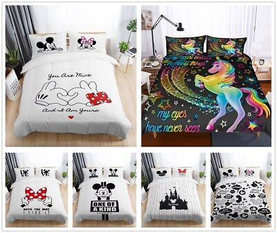 Disney Mickey Minnie Kids Duvet Cover Bedding Set Unicorn Quilt Cover Pillowcas  ()