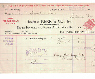 Sept 2 1925 Invoice Kerr & Co Kerr's Improved A.B.C. Wire Belt Lace Liberty NY for sale  Baton Rouge