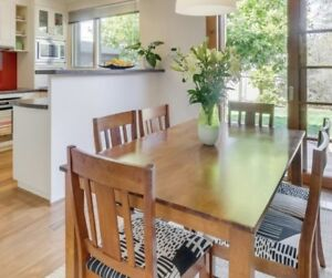 Dining setting - timber table and 6 newly re-upholstered chairs