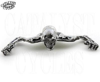 """Chrome Skeleton Headlight Ornament for Harley 5-3/4"""" Headlight Visor Accent"""