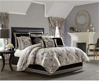 J. Queen New York GULIANA 4 piece QUEEN Comforter SET Shams VELVET Skirt  NEW