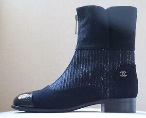 CHANEL BLACK TWEED PATENT LEATHER CAP TOE ZIP FRONT BOOTS EU 38.5 UK 5.5 US 8.5
