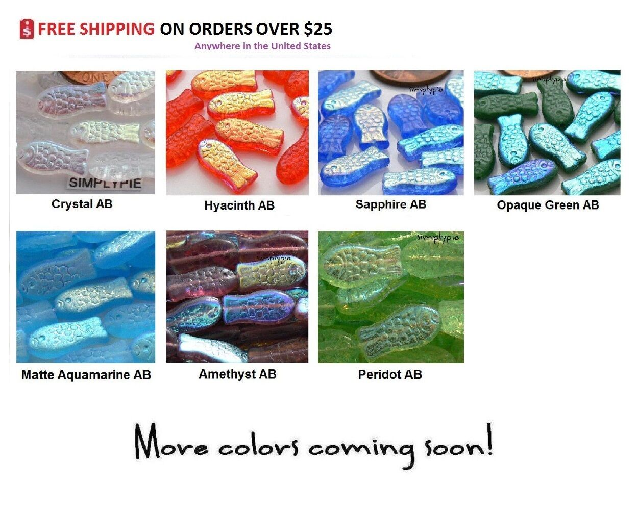 Fish Czech Glass Beads 14x7mm 20 Choose Color