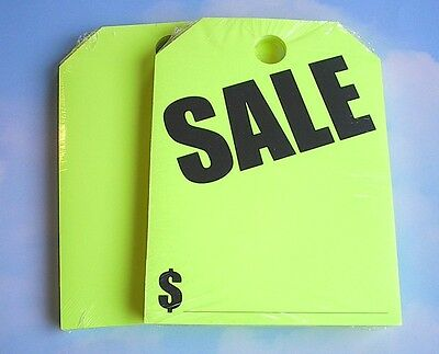~Free Shipping CARDEALER 50 REAR VIEW MIRROR HANGING WINDOW CARD TAG SALE Yellow
