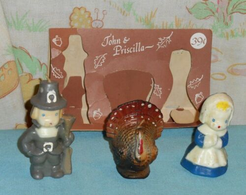 vintage THANKSGIVING GURLEY CANDLE set of 3 with original package John Priscilla