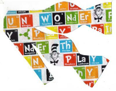 Dr. Seuss Bow tie / Fun Words Spelled with the Periodic Table / Self-tie Bow Tie
