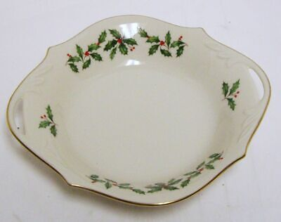 Lenox  Holiday Candy Dish Open Tab Handles Holly Berries 24K Gold Trim USA Holiday Candy Dish