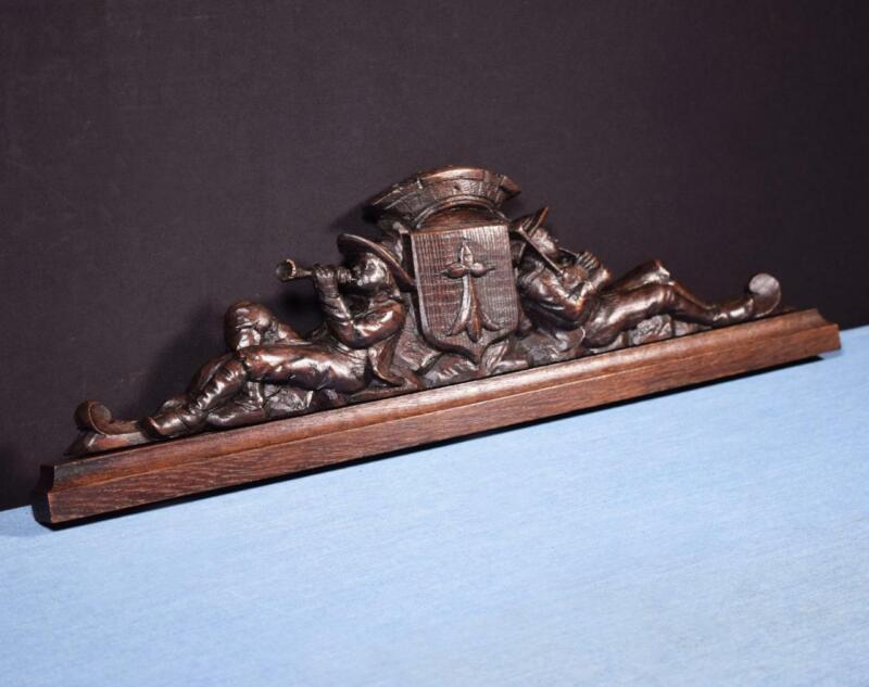 """*21"""" French Antique Breton Pediment, Crown or Crest Chestnut Wood from Brittany"""