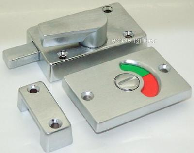 SATIN CHROME BATHROOM VACANT-ENGAGED SHOWING RED / GREEN INDICATOR DOOR LOCK
