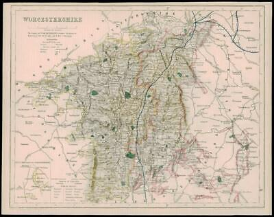 1842 - Original Antique Map of WORCESTERSHIRE by Fisher      (31)