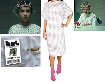 STRANGER THINGS Eleven Elle HNL HOSPITAL GOWN  & BADGE Costume Halloween Cosplay - Halloween Costumes Hospital Gown