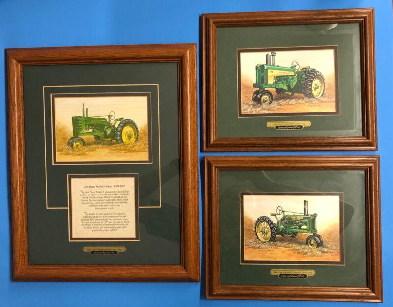 John Deere Tractor American Memory Prints Set of Three, Matted, in Wooden Frames