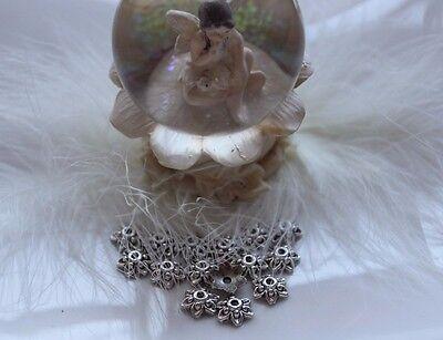 Rabatt-Großmenge-50-100-200 Metall-Perlen-Blume -Perlenkappen-antiksilber- 9,5mm
