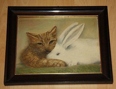 Katze und Hase - Hochwertiges Ölgemälde auf Holztafel um 1930 - Meisterlich