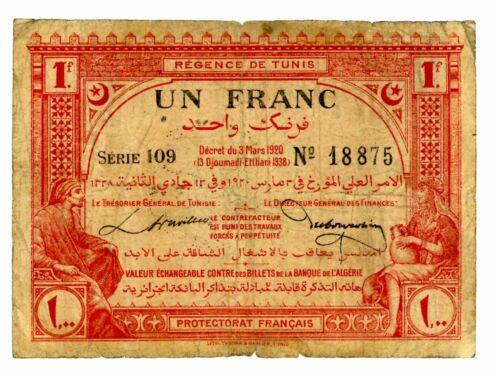 Tunisia ... P-49 ... 1 Franc ... 3.3.1920 ... *F*