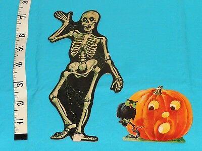 vintage Halloween Dennison SCARED JOL JACK-O-LANTERN & SKELETON decorations lot