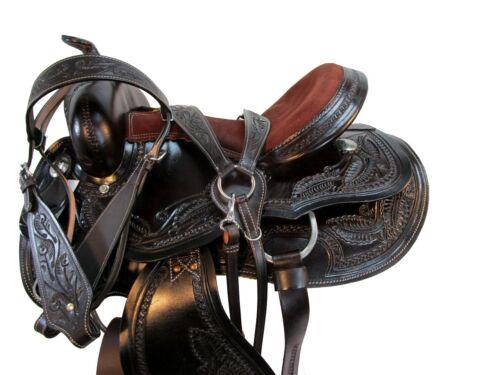 WESTERN GAITED SADDLE 15 16 17 HORSE PLEASURE TRAIL FLORAL TOOLED LEATHER TACK