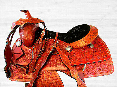 Used, 16 17 RANCH ROPER RANCHER WADE TYPE ROPING TRAIL LEATHER WESTERN ARABIAN SADDLE for sale  Shipping to Canada