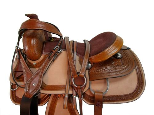 COMFY TRAIL WESTERN SADDLE PLEASURE HORSE TACK 15 16 17 18 FLORAL TOOLED LEATHER