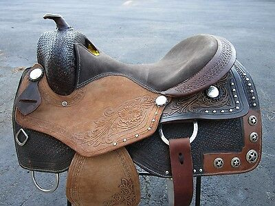 17 WESTERN PLEASURE SILVER STAR SHOW PARADE REINER TRAIL LEATHER HORSE SADDLE