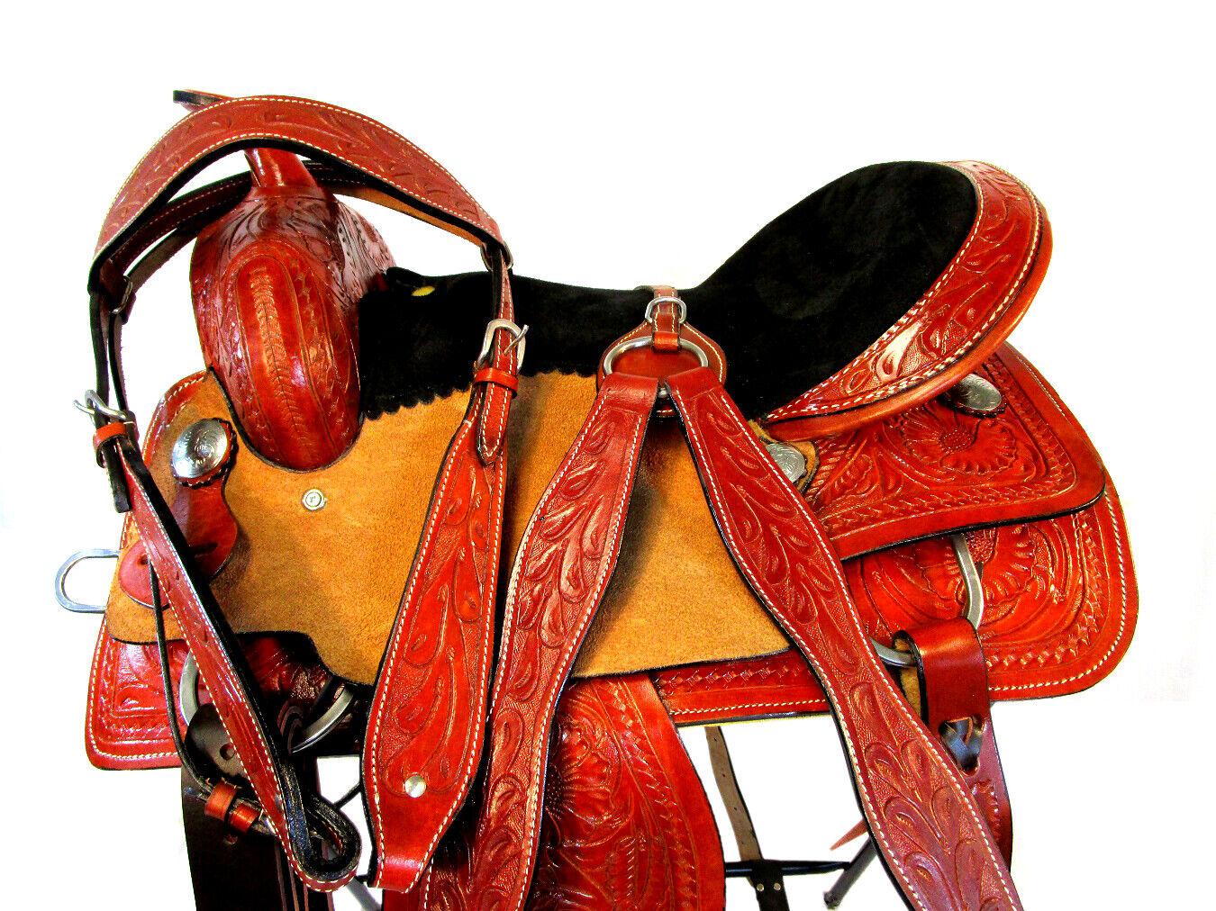 BARREL RACING DEEP SEAT FLORAL TOOLED PLEASURE TRAIL WESTERN