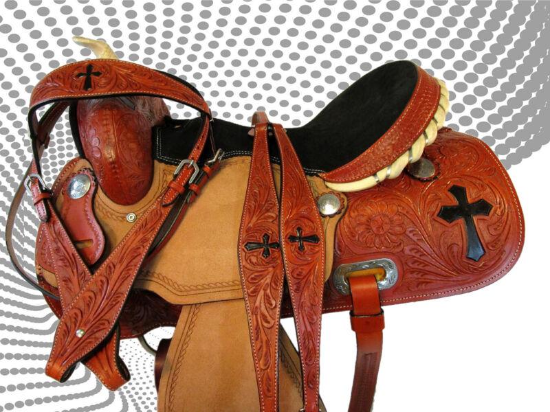 HAND TOOLED CROSS PAINTED TRAIL PLEASURE HORSE WESTERN BARREL SADDLE TACK 15 16