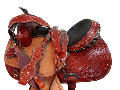 DEEP SEAT WESTERN SADDLE 16 15 BARREL RACING PLEASURE HORSE TOOLED LEATHER TACK