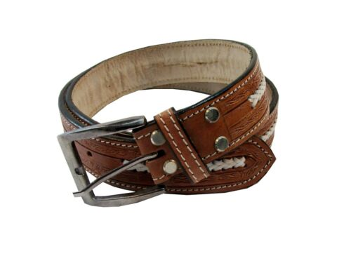 Mens Leather Belt Casual Work Wear Western Tooled Leather Belt With Buckle