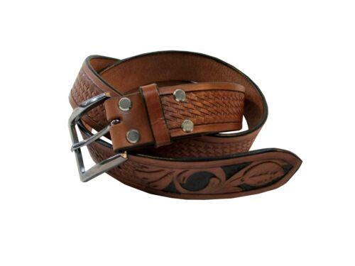 32 - 46 Western Brown Tooled Leather Belt Carry Gun Holster Women Mens Belts