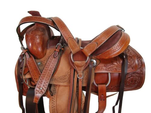 COMFY TRAIL WESTERN SADDLE 15 16 17 PLEASURE HORSE FLORAL TOOLED LEATHER TACK