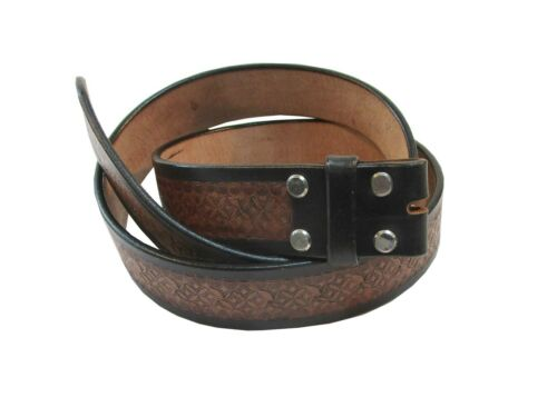32 - 46 Western Brown Tooled Leather Mens Belt Casual Work Office Wear Belts