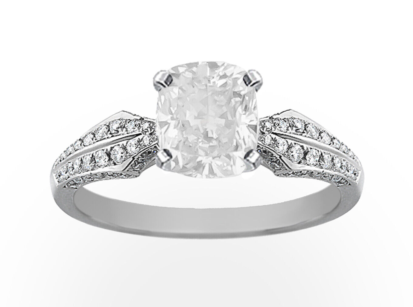 GIA Certified Diamond Engagement Ring 14k White Gold 1.90 CTW Natural Cushion