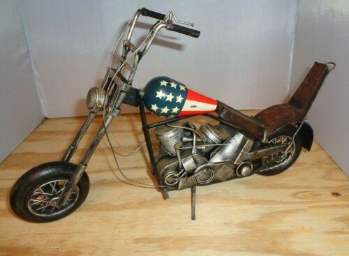 Vintage Metal Chopper Motorcycle Art Sculpture Model EASY RIDER Fonda USA Flag