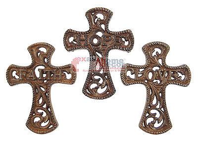 3 Crosses (Set of 3 Faith Hope Love Cast Iron Decorative Wall Crosses Inspirational)