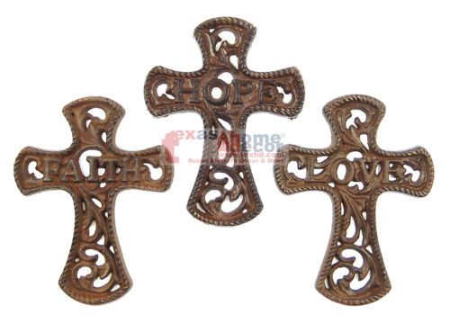"Set of 3 Cast Iron Wall Crosses Faith Hope Love Ornate Scrolls Rope 6 x 4.5"""
